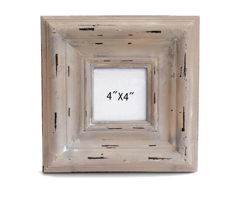Amazon.de: GILDE Quadratischer Holz Bilderrahmen BEIGE antik Fotos 9x9