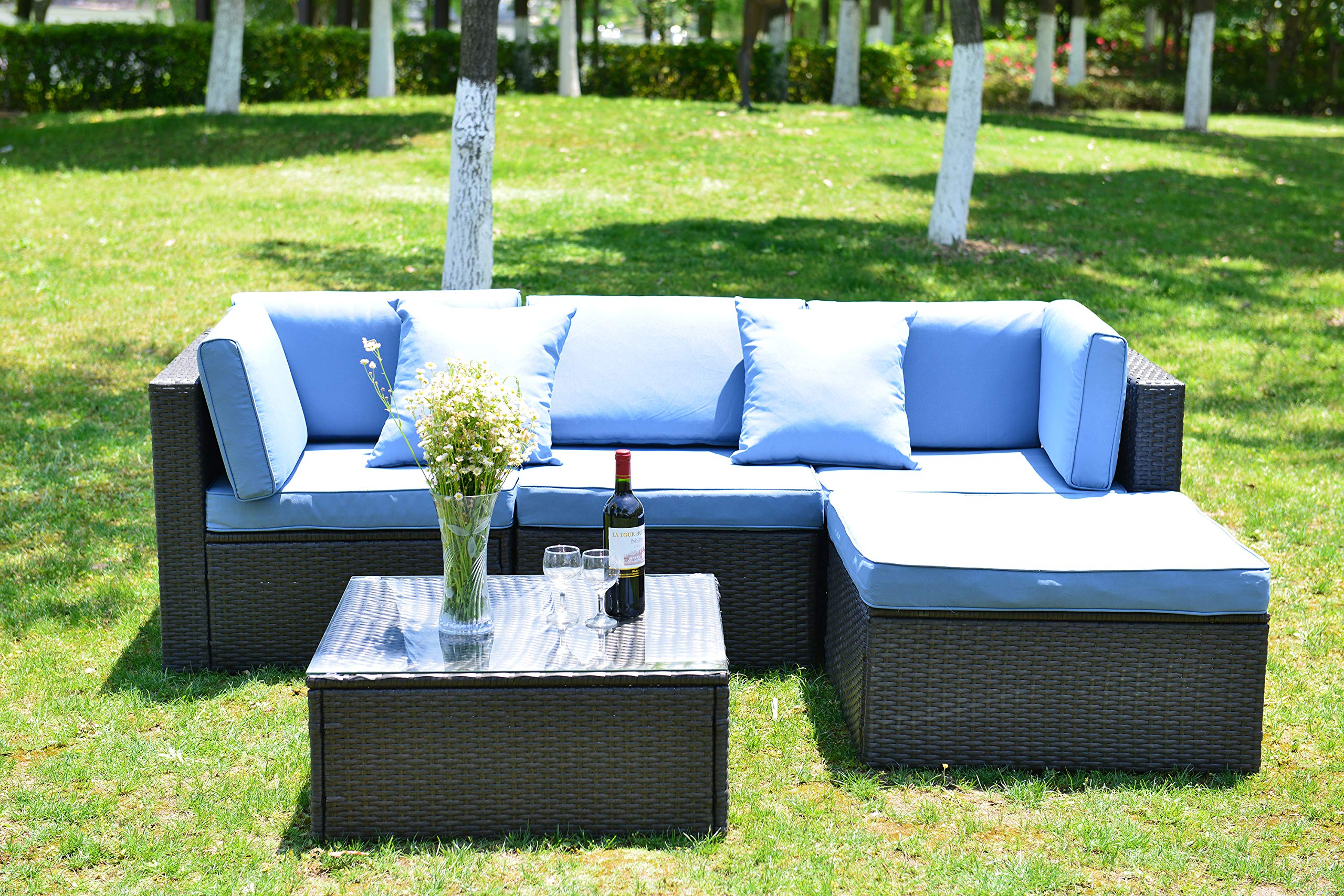 GOJOOASIS Outdoor Patio PE Wicker Rattan Sofa Sectional Furniture Conversation Set with Cushion and Pillow, Steel Frame, Black (5pcs Rattan Sofa Set)