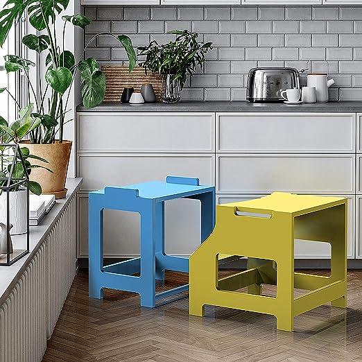 azul y amarillo ZZBIQS Taburete de cocina infantil con 2 niveles torre de aprendizaje para ni/ños torre de pie para ni/ños peque/ños taburete para aprender a contar