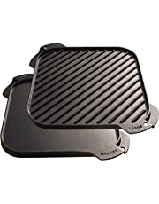 Lodge LSRG3 Cast Iron Single-Burner Reversible Grill/Griddle, 10.5-inch