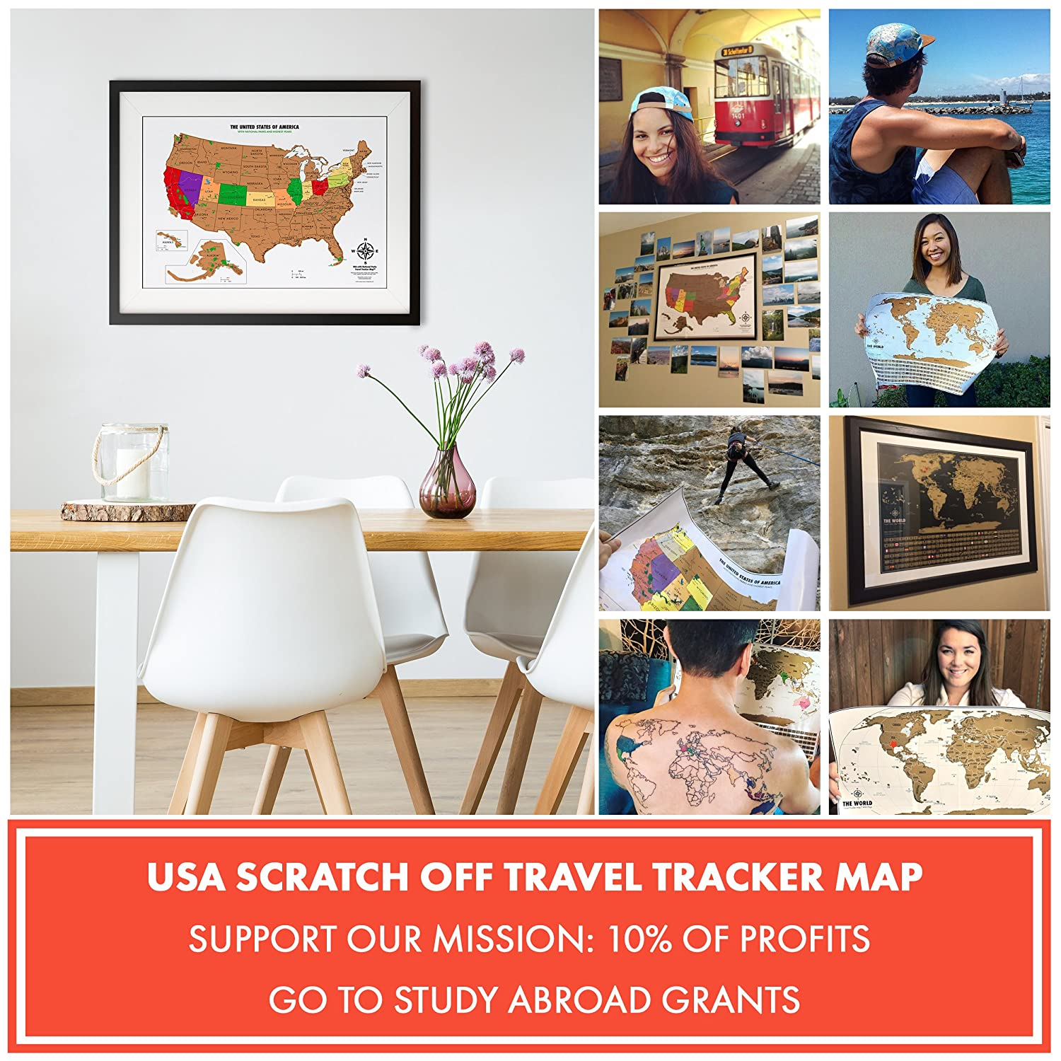 Us map travel tracker scratchable world map with bonus a4 us map amazon com scratch off usa map with national parks capitals peaks and highways scratch off your sciox Image collections