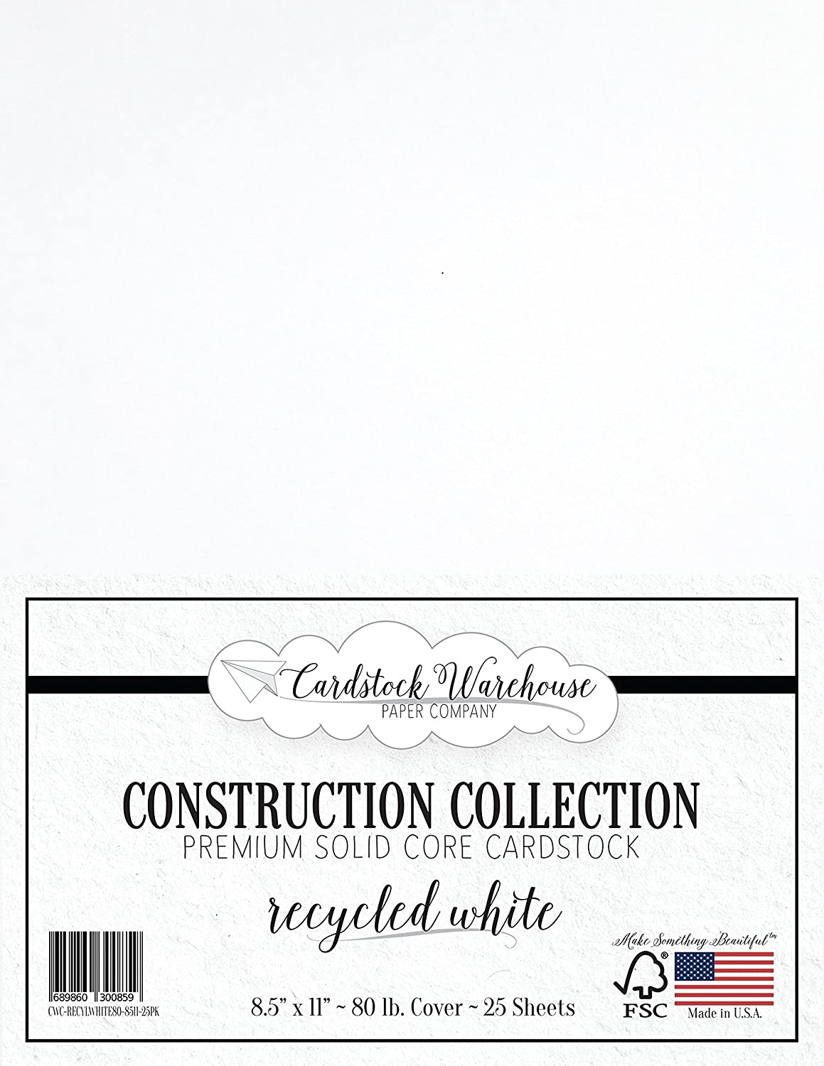Recycled White Cardstock Paper 8.5 x 11 inch Premium 80 LB 25 Sheets from Cardstock Warehouse Cover