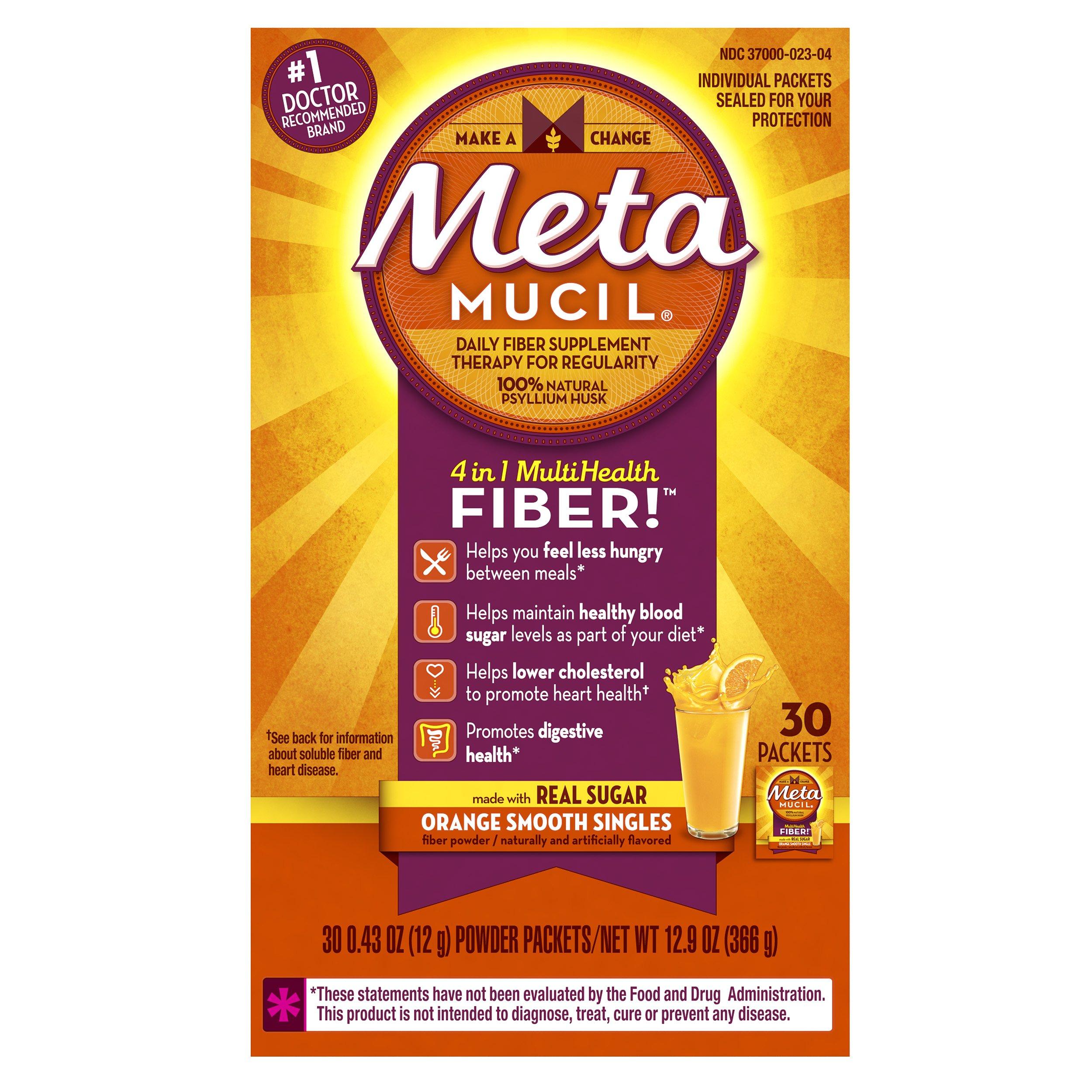 Metamucil Daily Fiber Supplement, Orange Smooth Sugar Psyllium Husk Fiber Powder Packets, 30 Singles (Pack of 2)