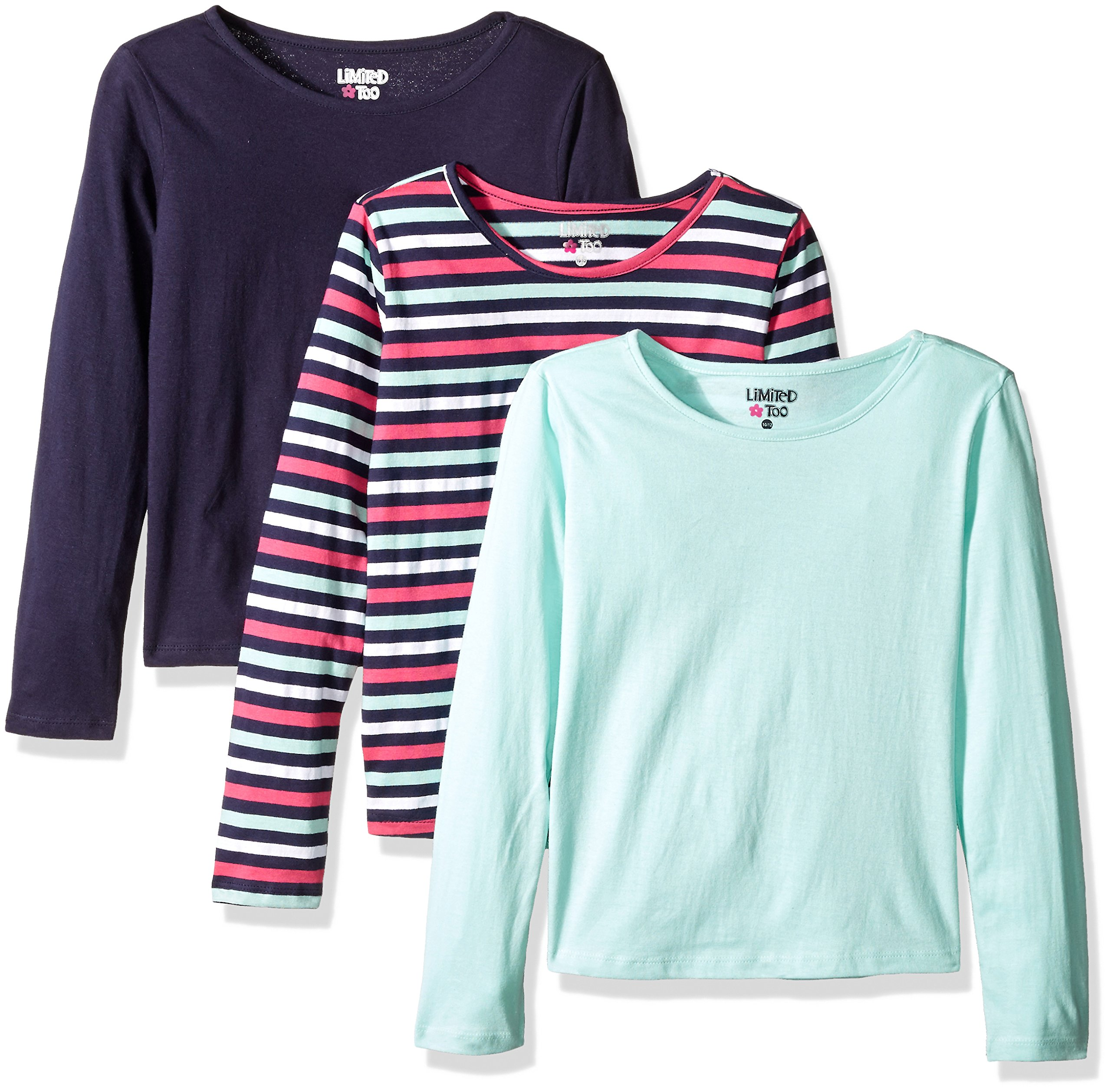 Limited Too Big Girls' 3 Pack: Long Sleeve Tee Shirts, Peacoat Stripe/Mint Frost/Peacoat, 10/12