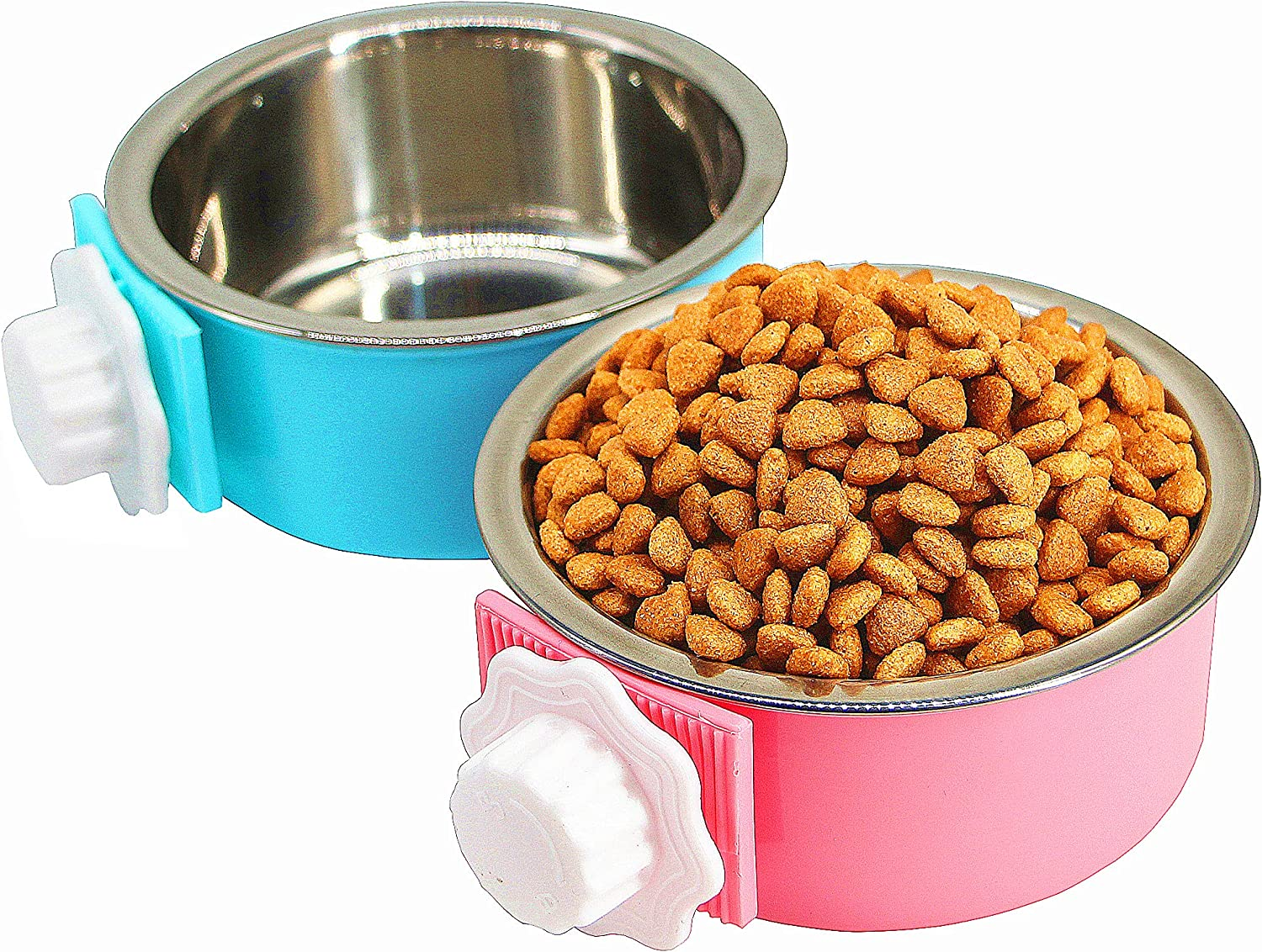 2 Pack Crate Dog Bowl, Removable & Stainless Steel Kennel Water Bowl Hanging Pet Cage Bowl Food and Pink Water Feeder Coop Cup for Puppy Medium Dogs Birds Ferret Cat