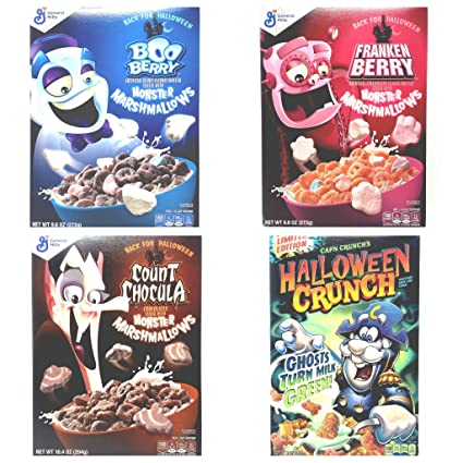 Amazon Com Halloween Breakfast Cereal Variety Pack Count Chocula Frankenberry Boo Berry Halloween Captain Crunch 4 Boxes Total 1 Box Of Each Do not eat boo berry cereal at 3am! amazon com