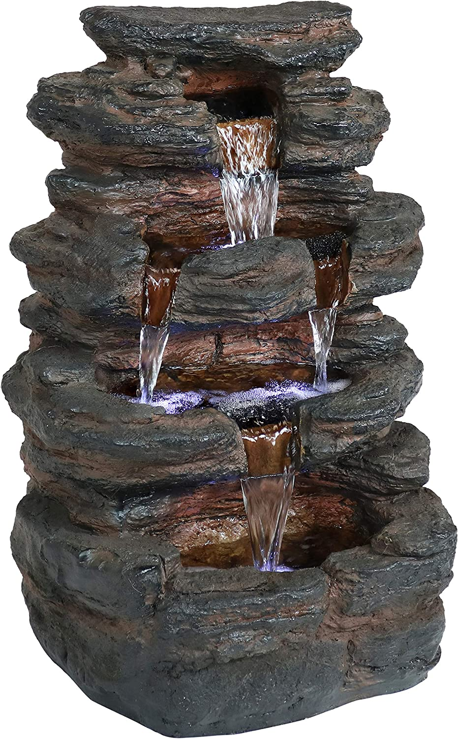 Sunnydaze Tumbling Falls Rock Style Outdoor Water Fountain with LED Lights - Corded Electric - Garden, Patio and Lawn Decor - Outdoor Waterfall Feature - 21-Inch
