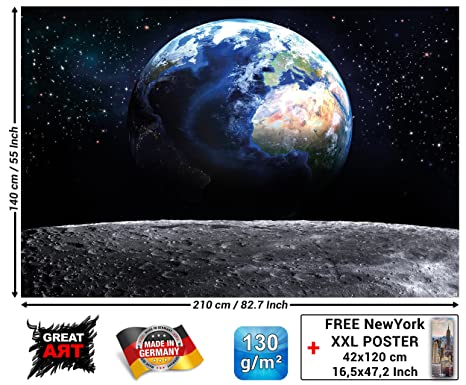 Mural View Of Earth From Space Wallpaper World Decoration Moon Sky Planet Galaxy Universe Space Cosmos Globe Stars Photo Wallposter 82 7 X 55