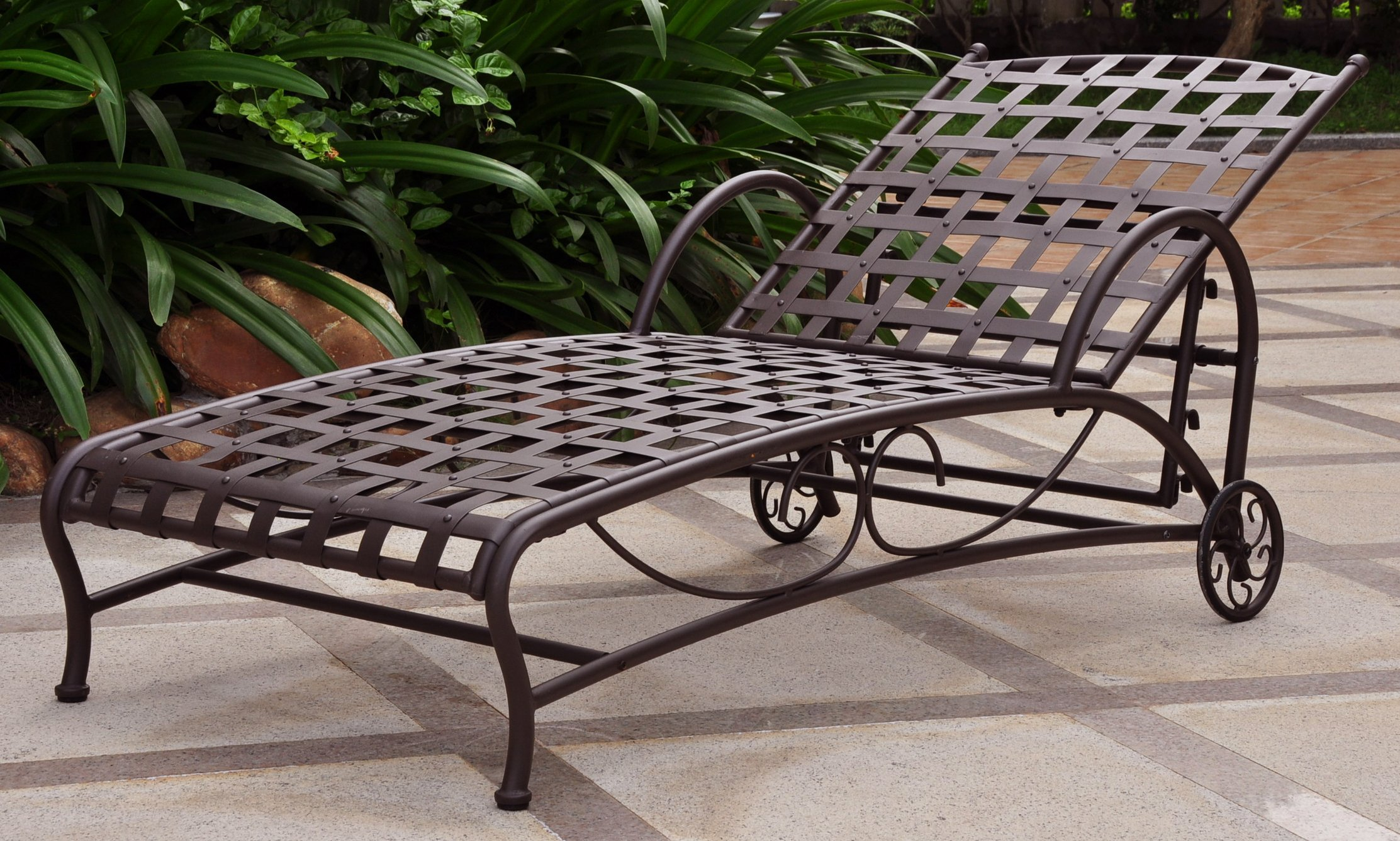 International Caravan Iron Bronze Multi-Position Patio Chaise Lounger
