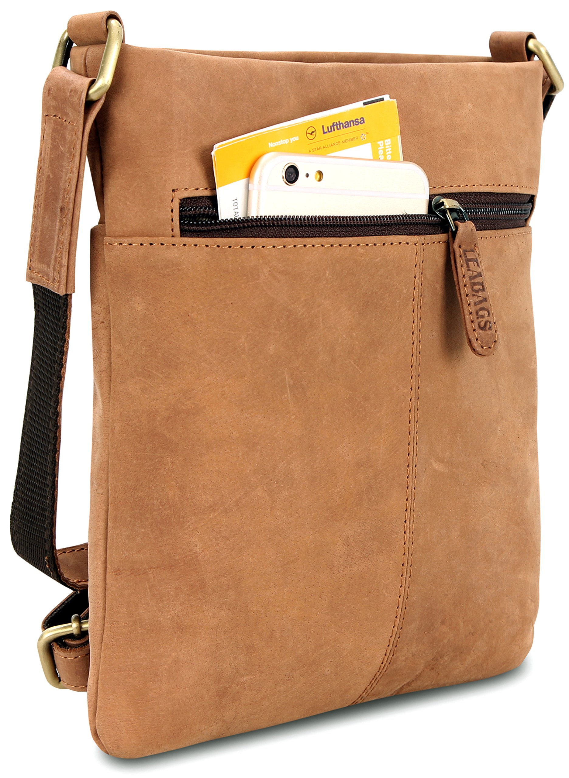LEABAGS Seattle genuine buffalo leather crossbody bag in vintage style - Brown by LEABAGS (Image #6)
