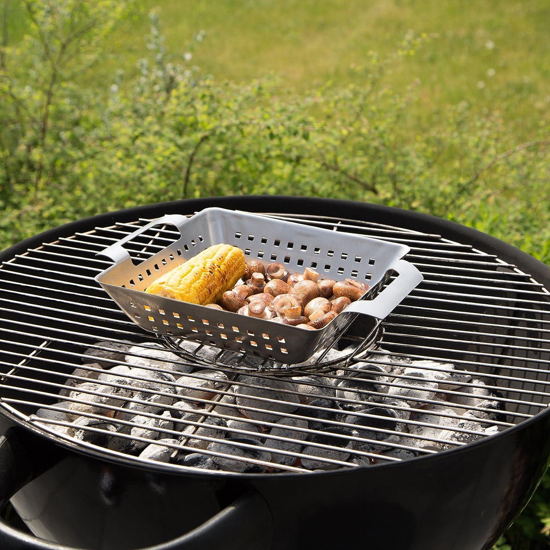 Bruzzzler Grill-Korb aus Edelstahl, für Grill und Backofen, bräunt Fleisch, Fisch und Gemüse gleichmäßig, einfache Reinigung in der Spülmaschine