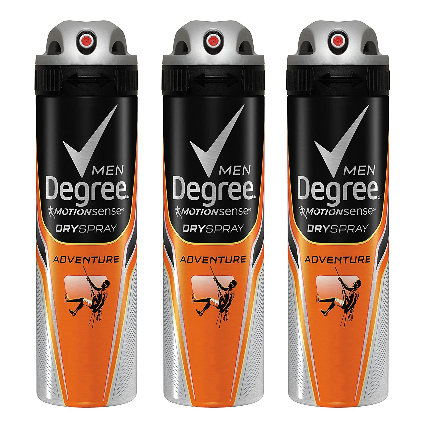 Degree Men MotionSense Antiperspirant Deodorant Dry Spray, Adventure, 3.8 Ounce, Pack of 3