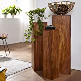 G Fine Furniture Wooden Decorative Nesting Tables for Living Room | Set of 3 Décor Tables | Sheesham Wood, Natural