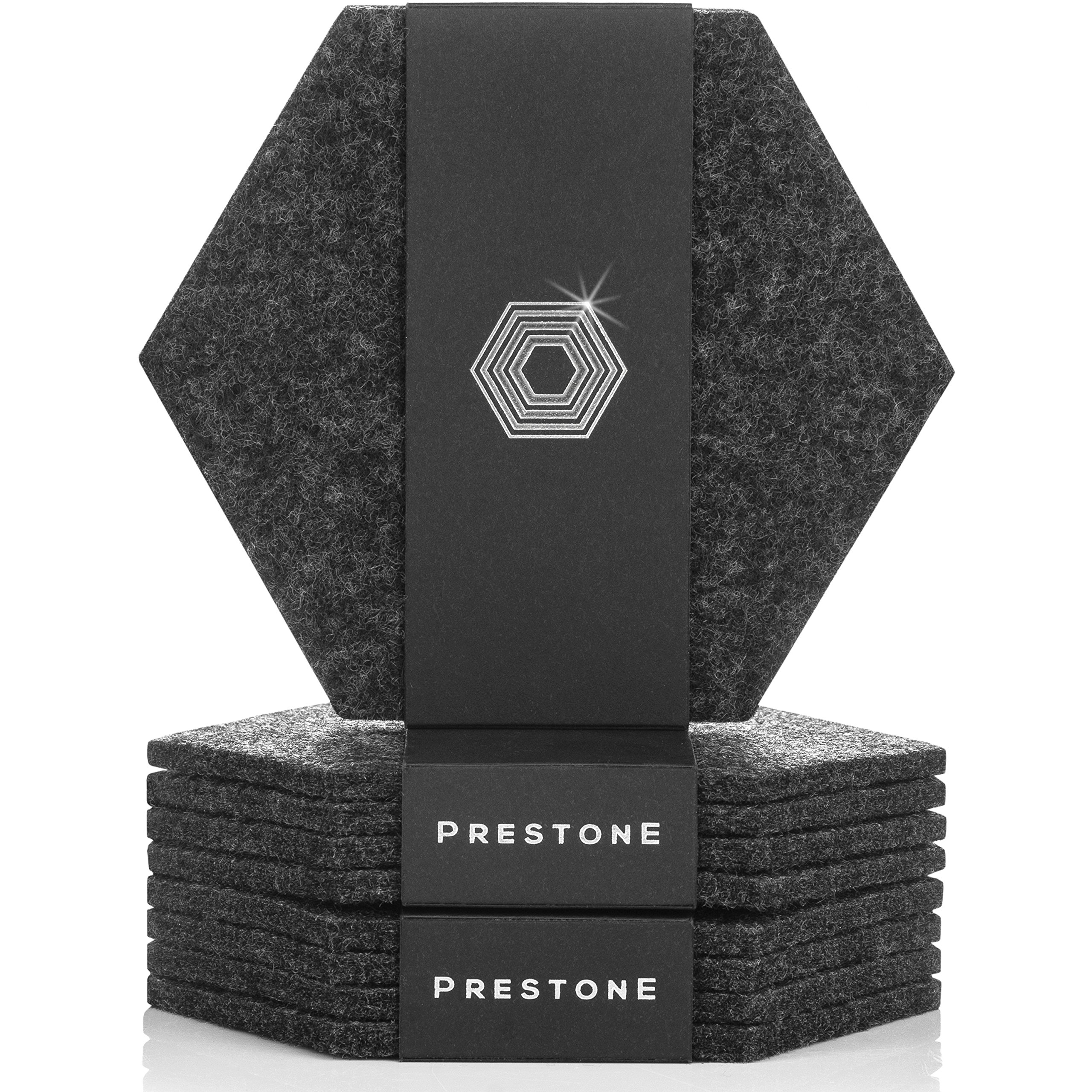 Coasters For Drinks Set of 9 | Absorbent Felt Coasters With Double Holder And Unique Phone Coaster | Premium Package, Perfect Housewarming Gift | Protects Furniture (Hexagon, Charcoal) New 2018