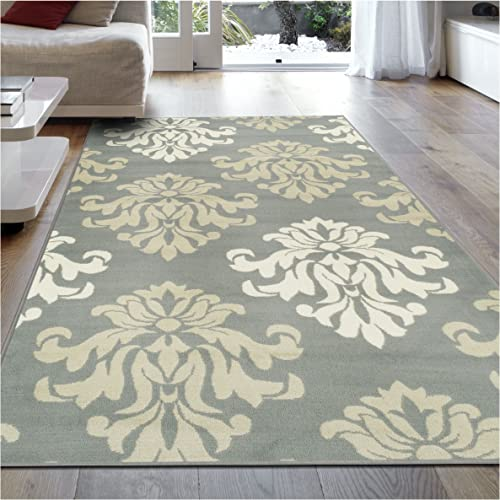 Superior Designer Casper Collection Area Rug, 8mm Pile Height with Jute Backing, Chic Tonal Damask Pattern, Anti-Static, Water-Repellent Rugs – Blue, 8 x 10 Rug