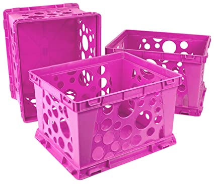 Storex Large Storage And Transport File Crate, 17.25 X 14.25 X 10.5 Inches,  Pink