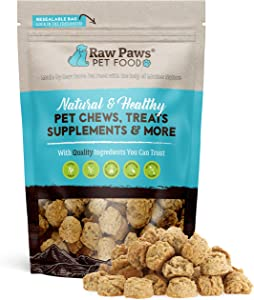 Raw Paws Natural Peanut Butter Dog Treats, 10-oz - Healthy Dog Cookies Made in USA Only - Peanut Butter Puppy Treats - Wheat, Soy & Corn Free Soft Dog Snacks - Bakery Dog Treats with Peanut Butter