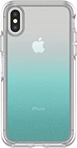 OtterBox SYMMETRY CLEAR SERIES Case for iPhone Xs & iPhone X - Retail Packaging - ALOHA OMBRE (SILVER FLAKE/CLEAR/ALOHA OMBRE)