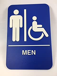Menu0027s Womenu0027s Handicap Accessible Braille Restroom Sign Bathroom Sign  Self Adhesive U2026 (6x9,
