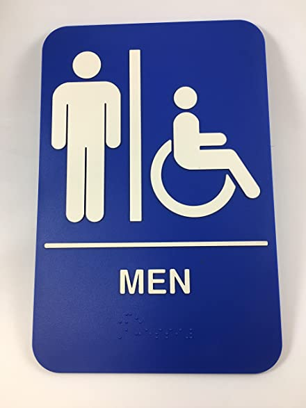 Mens Womens Handicap Accessible Braille Restroom Sign Bathroom Self Adhesive 6x9