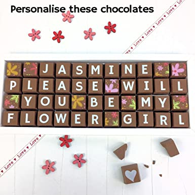 280471384bd87 PLEASE WILL YOU BE MY FLOWER GIRL Chocolates with Personalised Name -  Flower Chocolate Gift for Flower Girl  Amazon.co.uk  Grocery