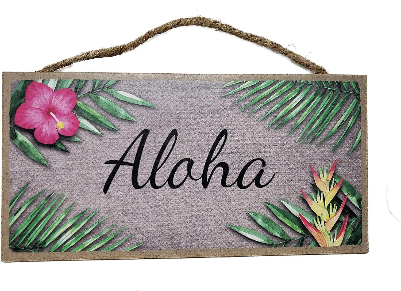 Aloha Hanging Wood Sign - Hawaiian Tropical Wall Decor Plaque - 10 x 5 Inches