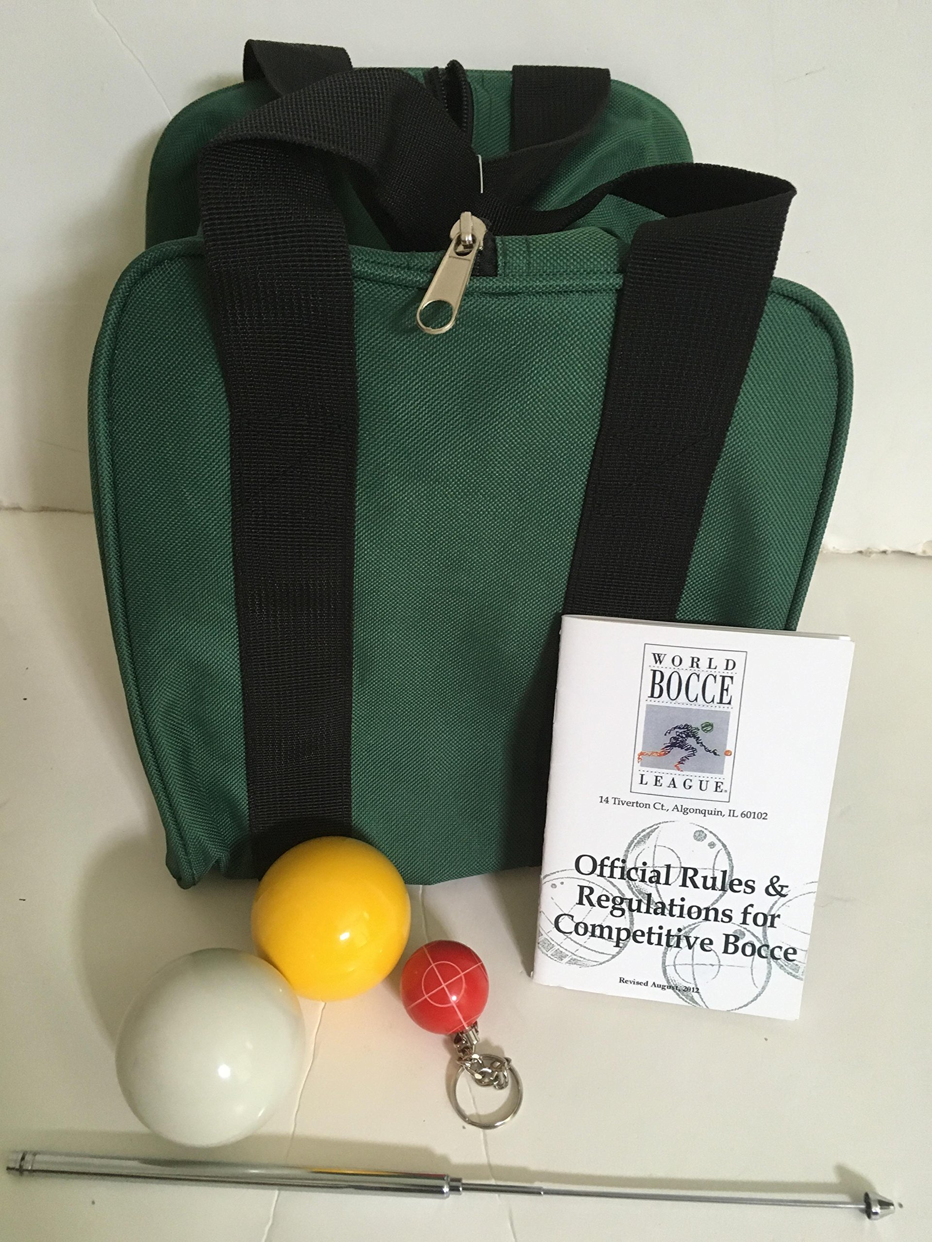 Unique Bocce Ball Accessories Package - Extra Heavy Duty Nylon Bocce Bag (Green with Black Handles), yellow and white pallinas, Extendable Measuring Device, Rule Book and Keychain