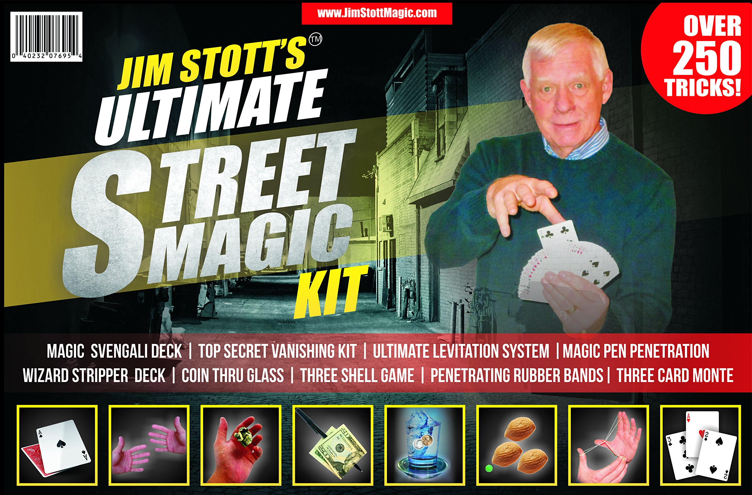 Jim Stott's 'Ultimate Street Magic Kit, Magic Tricks Set for Adults, Svengali Card Deck, The Ultimate Levitation System, Secret Vanishing Device, Penetrating Rubber Bands, Coin Thru Glass, and More by Jim Stott Magic