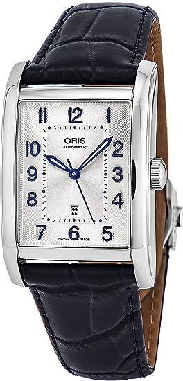 Oris Rectangular FECHA para mujer Classic plata cara Swiss – Reloj luminoso manos azul piel banda