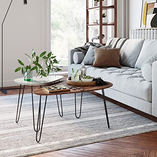 Nathan James Bodhi Mid-Century Nesting Coffee Table Set of 2, Stacking Side or End for Living Room with Faux Carrara Marble, Wood Finish and Black Metal Legs, White Walnut