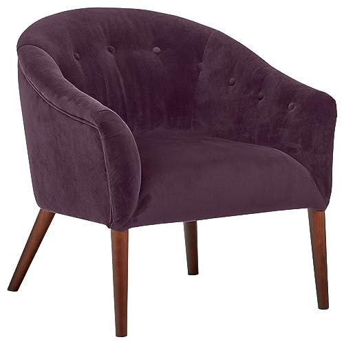 Rivet Curved Tufted Velvet Accent Chair