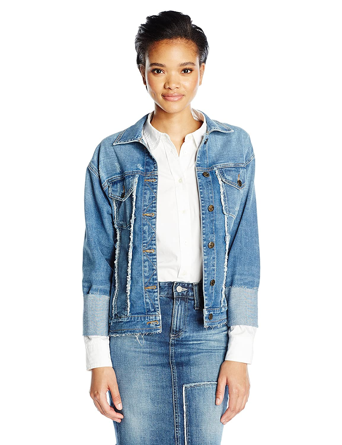 Joe's Jeans Women's Belize Frayed Detail Trucker Jacket in Yenz CR7YNZ7044