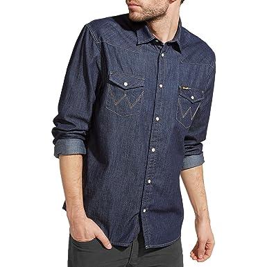 e6daac63c0 Mens Wrangler Classic Western Denim Shirt - Dark Indigo  Amazon.co.uk   Clothing