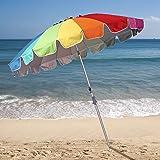 Ammsun 2017 7.5ft 20 Panels Heavy Duty Rainbow Beach Umbrella with zinc Tilt UPF 50+ Twist-in system Sand Anchor Silver Coating Inside