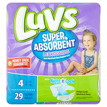 Branded Luvs Super Absorbent Leakguards Diapers, Size 4, 29 Diapers , Weight 22-