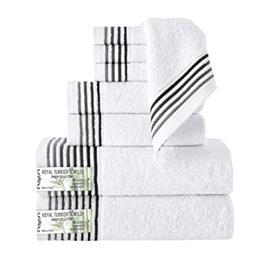 Classic Turkish Towels 8 Piece Luxury Bamboo Series Cotton Towel Set - Silky Smooth, Naturally Fast Drying and Hypoallergenic