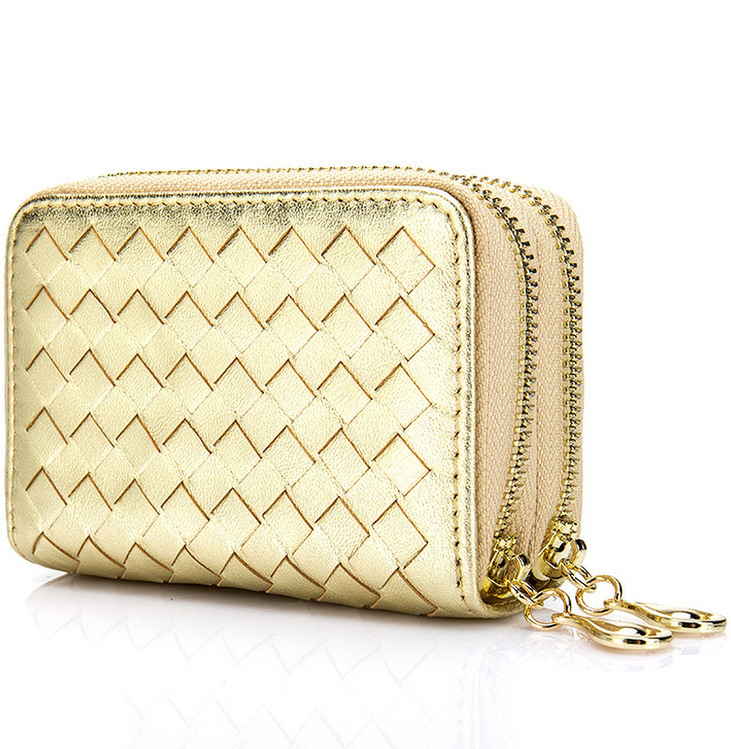 Women's RFID Blocking Leather Secure Credit Card Holder Zipper Wallet w Keychain, Gold, b6w009gd