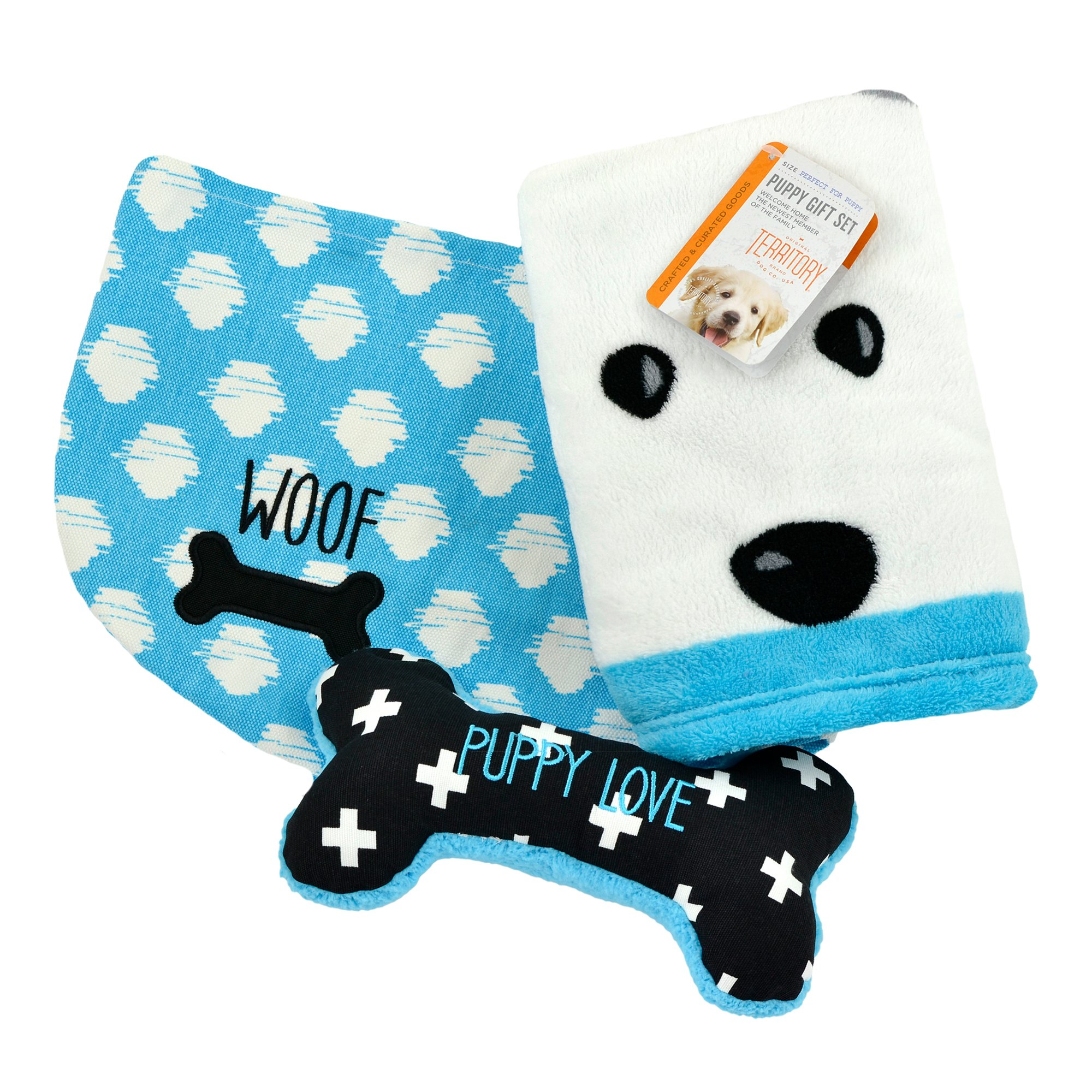 Territory Puppy Love Gift Set with Fleece Blanket Bone Toy and Canvas Storage Bin by Territory (Image #1)