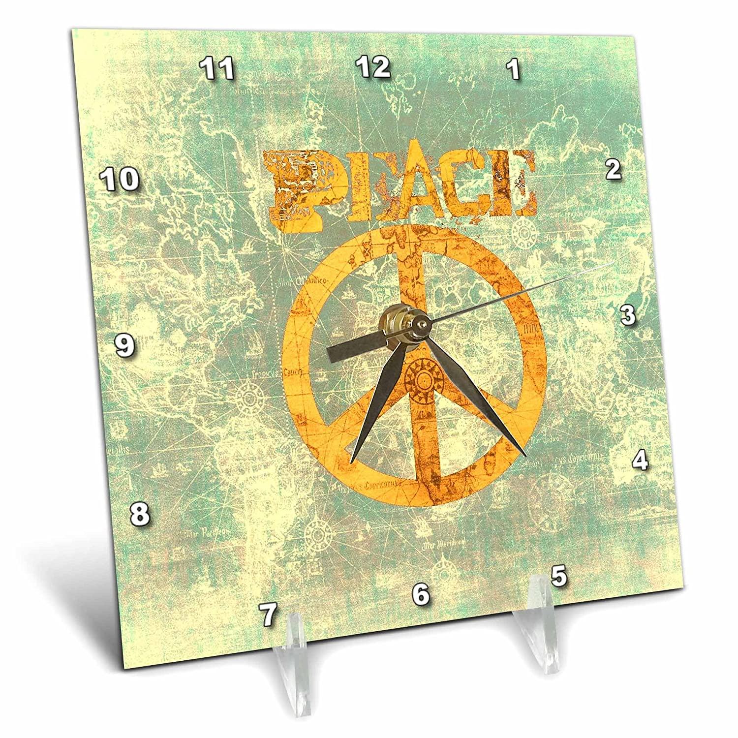 3dRose dc/_33745/_1 Vintage Gold and Blue World Peace Map-Inspirational Art-Desk Clock 6 by 6-Inch