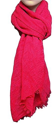 FIA MONETTI Estola de bufanda de mujer - Rojo - 180 x 70 cm - Bufanda con fucsias cortas en diferentes colores - un accesorio ideal para cualquier atuendo!