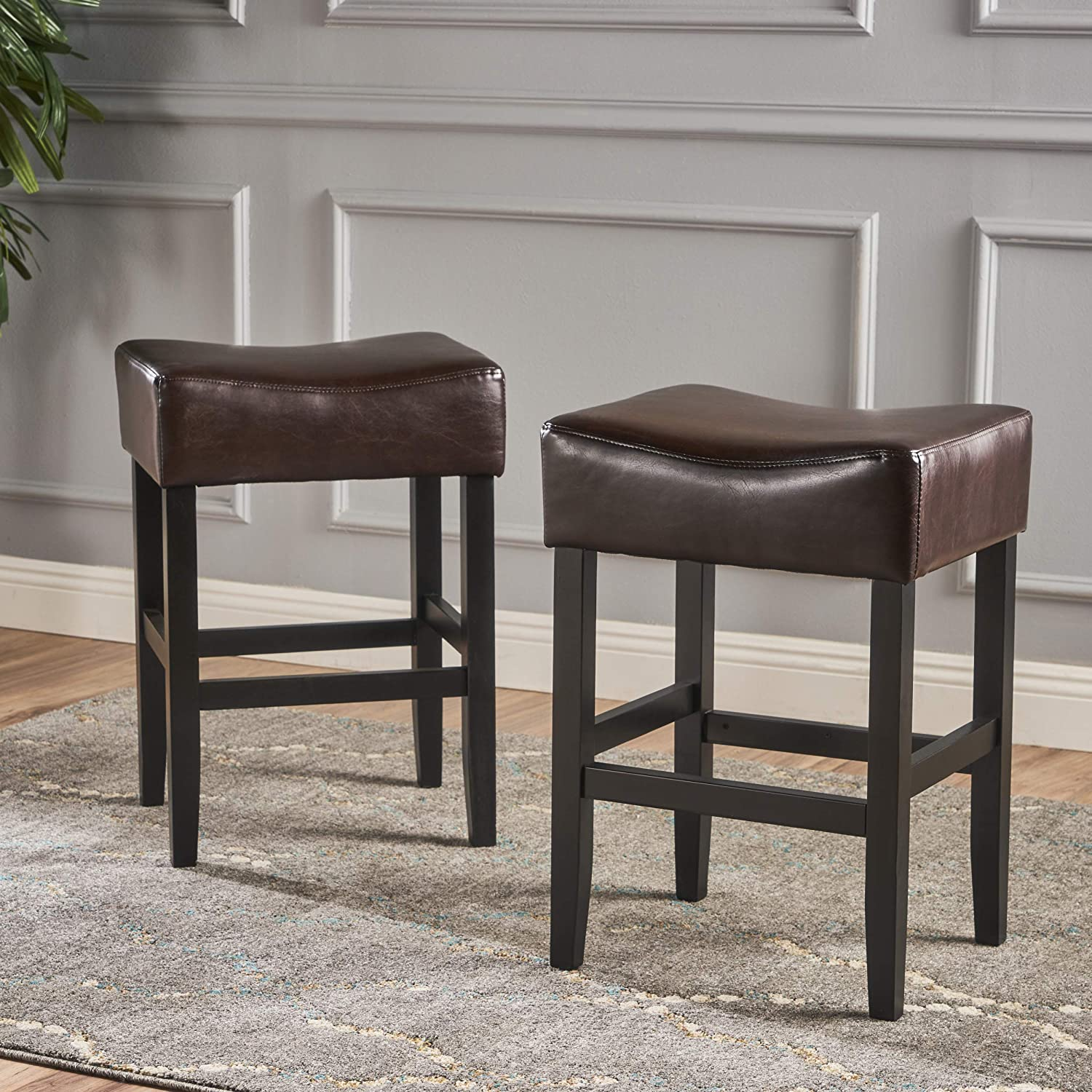 Christopher Knight Home 295961 Adler Set of 2 Brown Leather Backless Counter Stool,