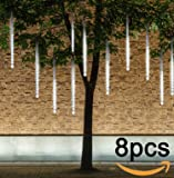 Falling Rain Lights, Ubegood Meteor Shower Lights Waterproof with 30cm 8 Tubes 144 LED Icicle String Lights for Holiday Party, Wedding, Christmas Decoration (White)
