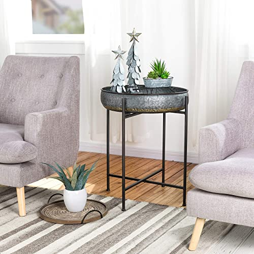 Glitzhome Farmhouse Metal End Table,Folding Galvanized Side Table Waterproof Coffee Table Sofa Side Table