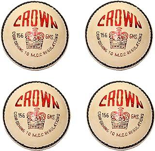 CW Lot de 4Couronne Blanc 4Cut pièce Sports Balle de cricket fabriqué à partir de cuir tanné alun Full cousu à la main 20–20matchs sportifs Régulation de la MCC Approuvé 5.5G Po