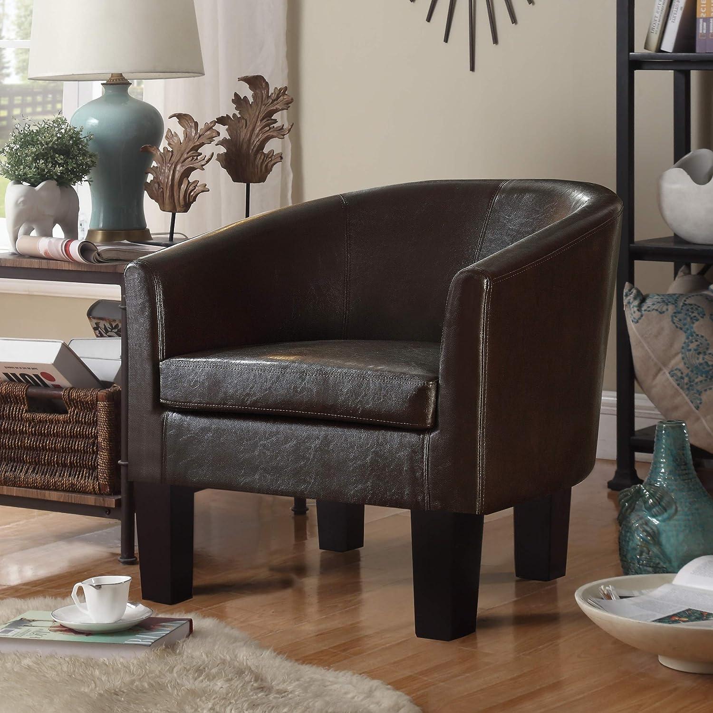 Rosevera Armchair Barrel Club Chair, Black