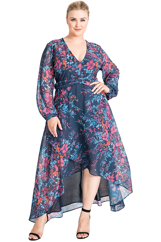 a1a4178191e Standards   Practices Plus Size Women s Floral Print Asymmetrical High Low Dress  Size 1X Blue at Amazon Women s Clothing store