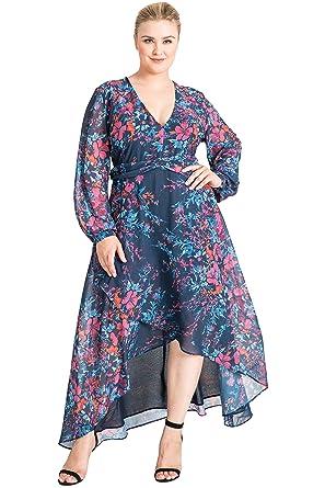 4284717c4a5 Standards   Practices Plus Size Women s Floral Print Asymmetrical High Low  Dress Size 1X Blue