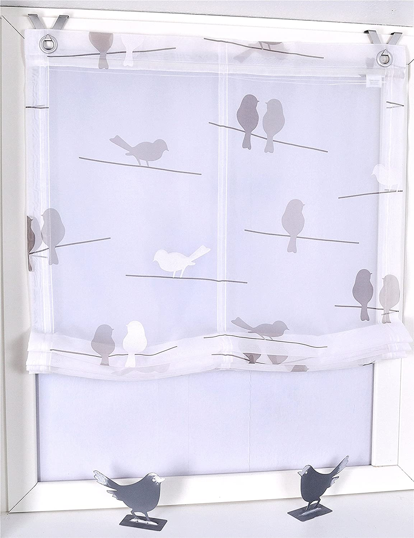 Amazon.de: Raffrollo / Ösenrollo Birds weiss Öse K 100/140