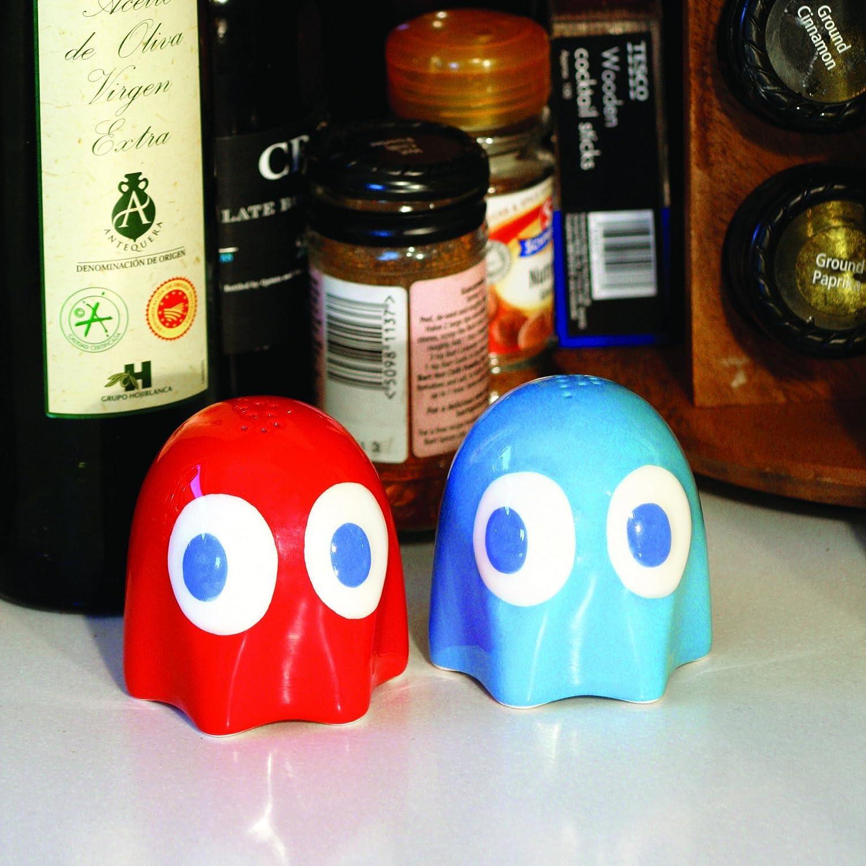 Set in 2 Pezzi in Ceramica Pac-Man Sale e Pepe Mini Accessori per la Cucina Tratti dal Videogioco Cult