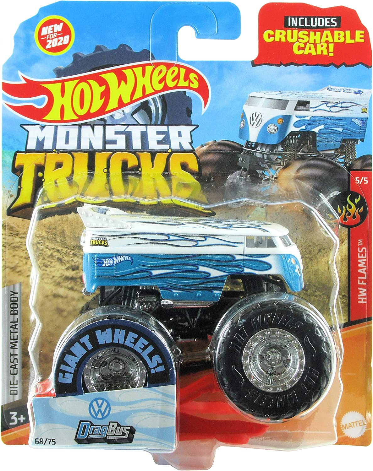 Amazon Com Hot Wheels Monster Trucks 2020 1 64 Scale Truck With Crushable Car 68 75 Hw Flames 5 5 Vw Volkswagen Drag Bus Toys Games